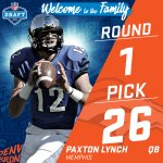 ????TRADE ALERT! ???? The @Broncos trade up to the #26 pick (via the @Seahawks) to select QB Paxton Lynch! #NFLDraft https://t.co/UuMv2Xiz2g