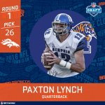 Seahawks trade back. Broncos get pick no. 26. Paxton Lynch is headed to Denver, folks. #NFLDraft https://t.co/H4s4u8R2xC