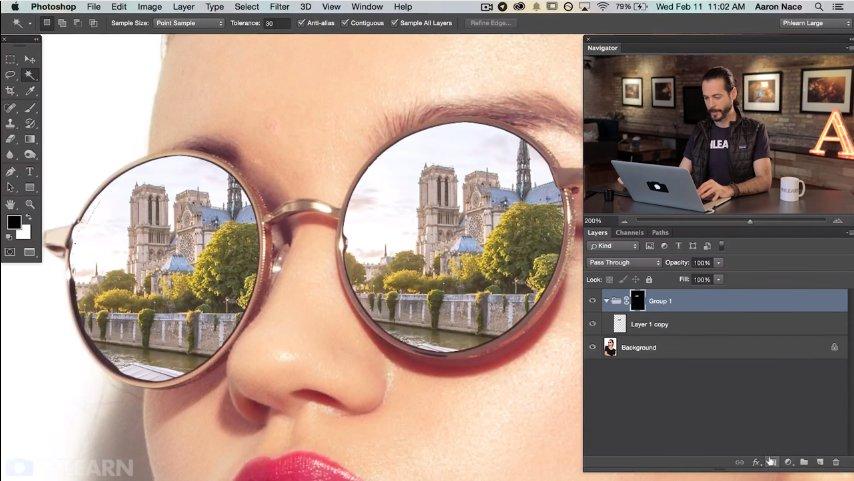 Как сделать отражение на стекле в фотошоп