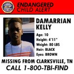ENDANGERED CHILD ALERT: Can you help us find Damarrian Kelly, missing from Clarksville, TN? Call 1-800-TBI-FIND! https://t.co/3Z0lmriI5b