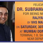 Dr @Swamy39 to be felicitated at Mumbai Domestic Airport 1B on Sat 30 Apr at 3:45pm on arrival in Mumbai @vhsindia https://t.co/iSz2g2Daz0
