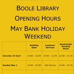 Boole Library opening hours May Bank Holiday weekend @UCC @UCCSU @conferrings https://t.co/nsfOiW7omU