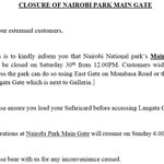 Due to the burn tomorrow, there will be a few alterations in regards to Nairobi National Parks access as implied. https://t.co/tYuBlvhwOJ
