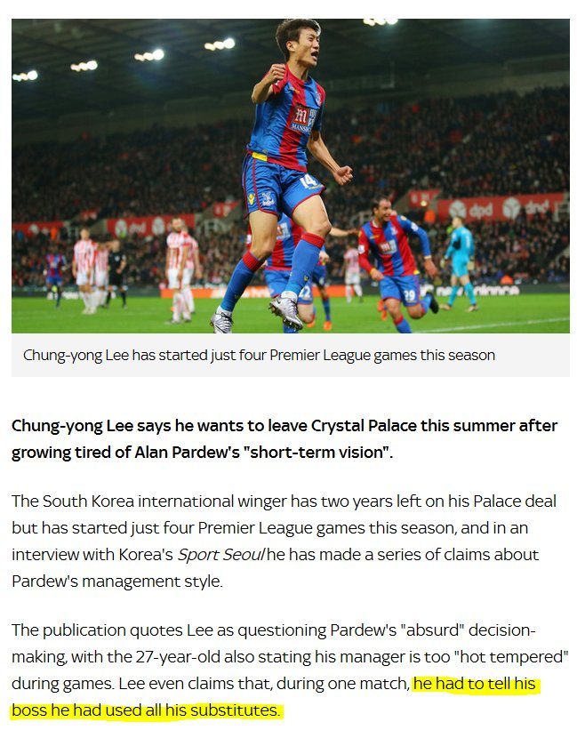 Chung-yong Lee here on Pardew, once and for all showing that Newcastle fans were in the wrong for wanting him out https://t.co/hlLLGCiEm7