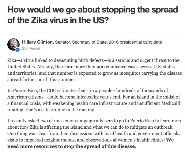 Presidential candidate @HillaryClinton: How can we stop the spread of the Zika virus? https://t.co/DnIKokn10X https://t.co/q5ZAZnU9b9