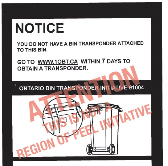 ALERT: Transponder tags aren't required for waste carts. Region doesn't endorse this initiative. https://t.co/QwNLQvD89M