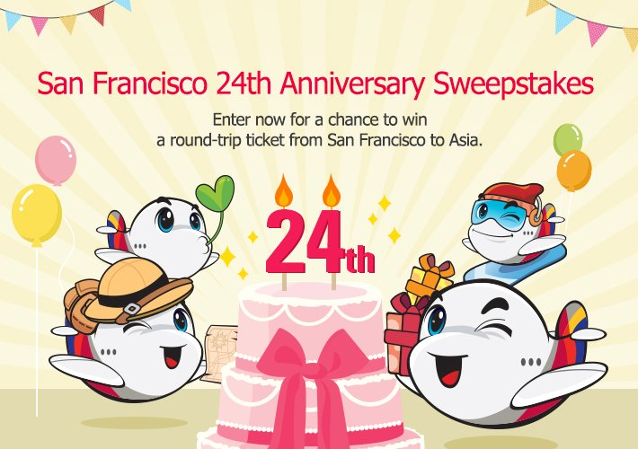 Visit our website for the San Francisco 24th Anniversary Sweepstakes and win a ticket! →