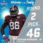 With the #46 pick in the 2016 #NFLDraft, the @Lions select DT AShawn Robinson! https://t.co/QG9UBIvLEy