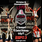 #STUNTNationals D2 Championship Game at 4:45 between two powerhouse STUNT programs, Davenport and Central Oklahoma! https://t.co/7p4mH2Pplz