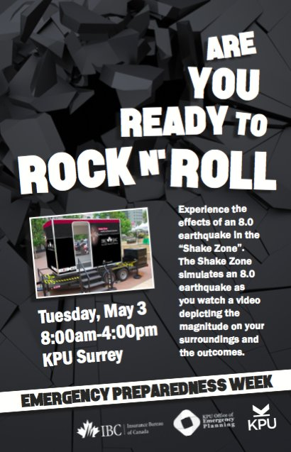 The ShakeZone is coming to KPU Surrey on May 3. Check it out and learn more about emergency preparedness. https://t.co/eI19AAHopE
