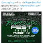 @youngthug dropped the ball on UNT. Said he was gonna come and didnt. #regardlessfest #wakaweekend https://t.co/PqTgG7Z1OA