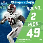 ???? TRADE ALERT! ???? @Seahawks trade up to the #49 pick (via @ChicagoBears) to select DT Jarran Reed! #NFLDraft https://t.co/brcZiXJ7eB
