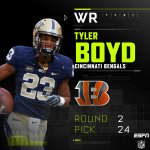 With the 24th pick in the 2nd round, the Bengals select WR Tyler Boyd. #CINpick https://t.co/x4TT2PtTTO