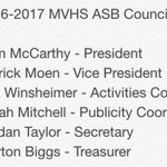 2016/17 ASB Election Results  Thank you to the 11 candidates that had the courage to #Serve MVHS and run for office https://t.co/LWnUIZvtOn