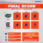 WHAT.  A. NIGHT.  #Gators take Game 1 from #Gamecocks.  Back at it tomorrow at 7 PM #GoGators https://t.co/VecbzEm1QP