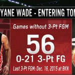Better late than never! Dwyane Wade hits three 3-Ptrs since 3:05 to play in 4th after not making one since December. https://t.co/yfQrk5mYcp
