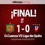 Final del partido, @DCuencaOficial se queda con los 3 puntos en #Cuneca > @DCuencaOficial 1-0 @LDU_Oficial https://t.co/B4apwIGO0i