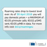 📩 Today:  Roaming charges in the EU drop to the lowest level ever! As of 15 June 2017 they will cease to exist. https://t.co/ToGYKcOm7J
