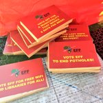 """#EFFManifesto Placards are being handed out to the crowd. Many have brought their own. Some read """"Zupta must go!"""" EC https://t.co/uJGZoArRol"""