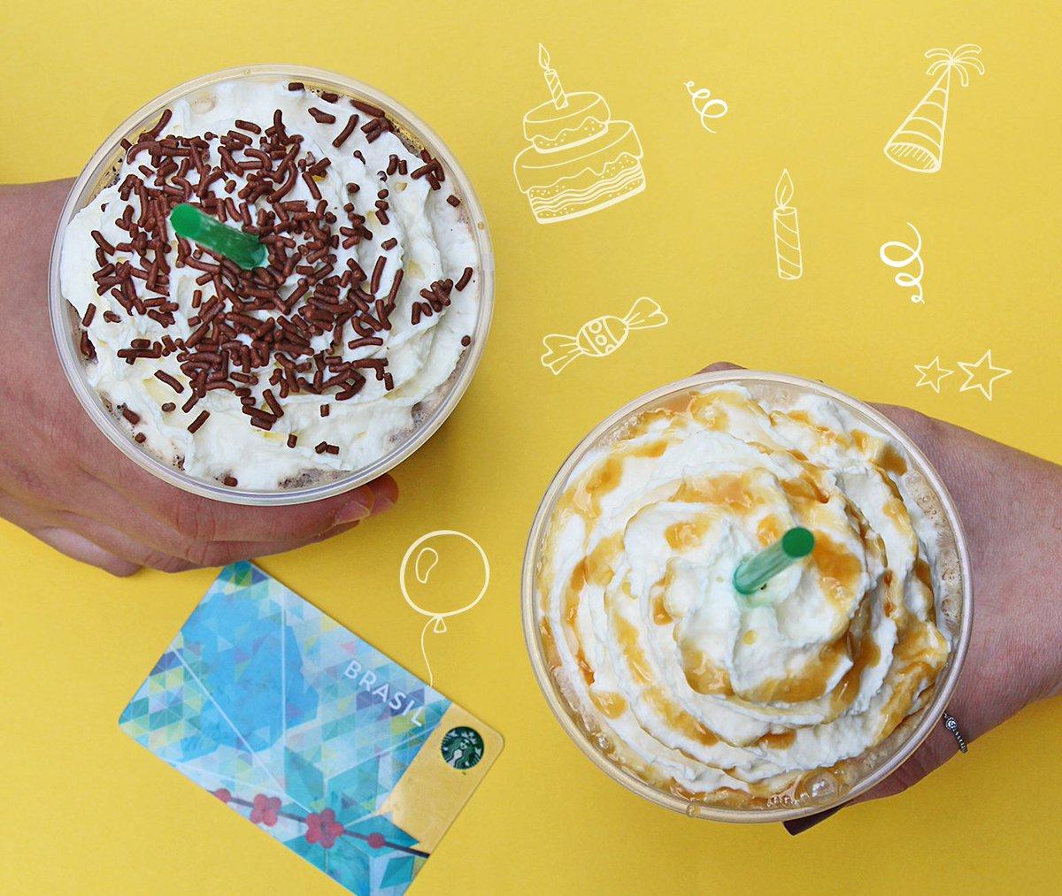 Hoje é aniversário do Frappuccino! Membros do My Starbucks Rewards compram um Frappuccino e  ganham o segundo!