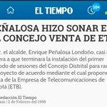 1998: Peñalosa propuso vender #ETB. Defendamos hoy el patrimonio público #ETBNoSeVende https://t.co/yxkXHv4q1u https://t.co/IRJl0GhGvm