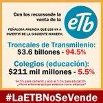 @EnriquePenalosa quiere vender ETB para comprar más losas de Trasmilenio y sólo 6% para Educación. ABSURDO https://t.co/a2fY3Hs2Bb
