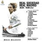 Este es nuestro once inicial frente a la Real Sociedad. ????✅ #RMLiga #HalaMadrid https://t.co/PQKMH4iW2r
