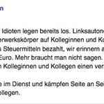 Die DpolG Köln schreibt auf Facebook ernsthaft, dass Antifas eine Pauschalvergütung von 45 Euro bekommen. #afdstgt https://t.co/DrV1ftrPa5
