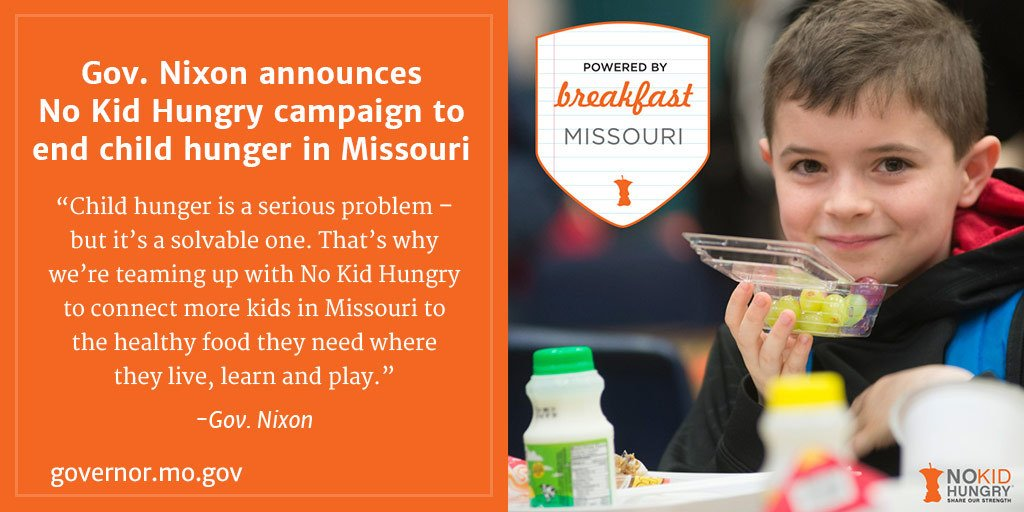 . @GovJayNixon announces @NoKidHungry campaign to end child hunger in Missouri. https://t.co/94uC6Q7YdT https://t.co/ActeWbqatD