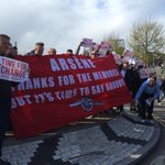 Arsenal fans outside Emirates singing Au revoir, au revoir, Arsene Wenger, well be happy when you leave in May https://t.co/3St3qz6RtY