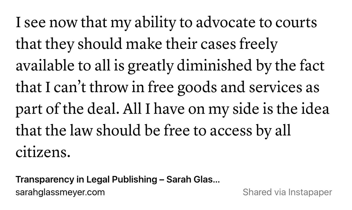 How Westlaw sweetens the pot to get courts to keep the law private. https://t.co/TvaEmATGDz https://t.co/DNZA1PWQTu