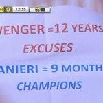 """""""Wenger, 12 años de excusas. Ranieri, campeón en 9 meses"""". Pancarta en el Emirates. https://t.co/GHXYlun3e8"""