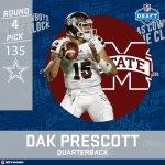 Dak is headed to Dallas. Cowboys select Prescott 135th overall.  #NFLDraft https://t.co/0Uz4NVllXp