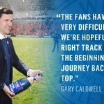 An extremely proud Gary Caldwell after sealing promotion today >> https://t.co/7tKC8YFa5N #wafc https://t.co/9h3bWc6gBs
