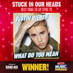 Shoutout to @justinbiebers song #WhatDoYouMean for winning #StuckInOurHeads—Best Song to Lip Sync To at the #RDMA! https://t.co/xq6CGHFtOo