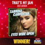 And the award for #ThatsMyJam—Best Anthem goes to @SabrinaAnnLynn for #EyesWideOpen! https://t.co/3dJFAECA6a