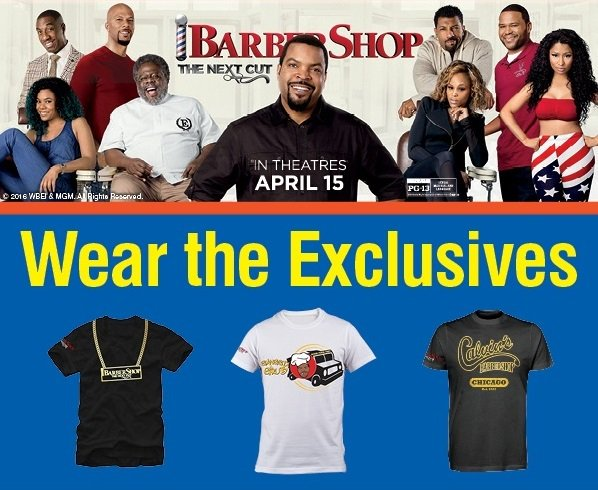 RT @barbershopmovie: #Barbershop: The Next Cut is in theaters now! Stop by FYE stores to grab exclusive t-shirts! https://t.co/5z1C9fox9q h…