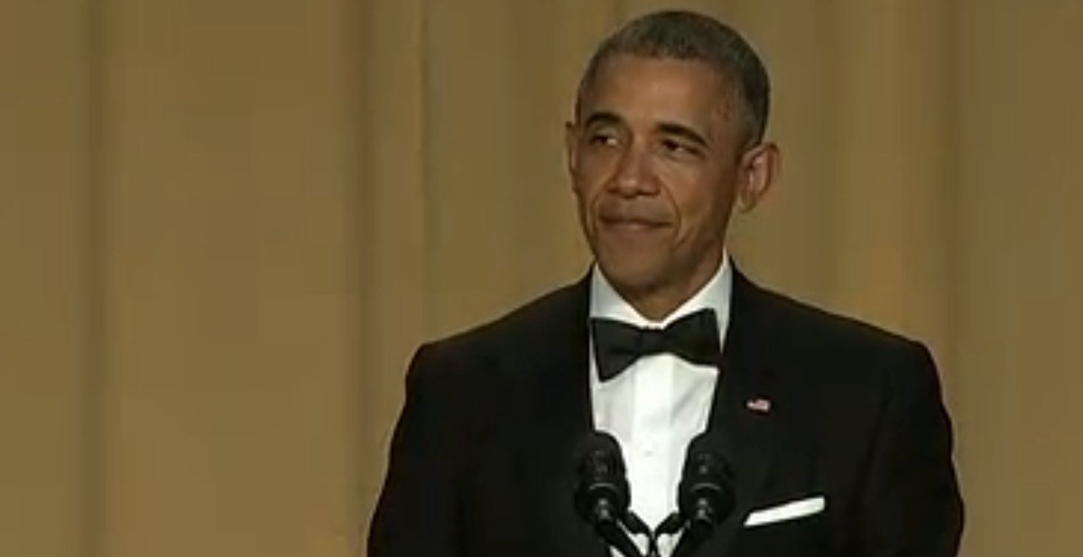 Obama takes the stage to the tune 'You're Gonna Miss Me When I'm Gone.' #WHCD