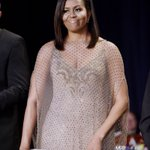 Michelle Obama wearing Givenchy couture at tonights #WHCD https://t.co/ZmybT72kDo