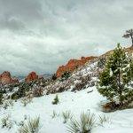 Snow covered Garden of the Gods today. Photo by: Larry Marr @kktv11news #cowx #kktv https://t.co/vAg5D52ZCS