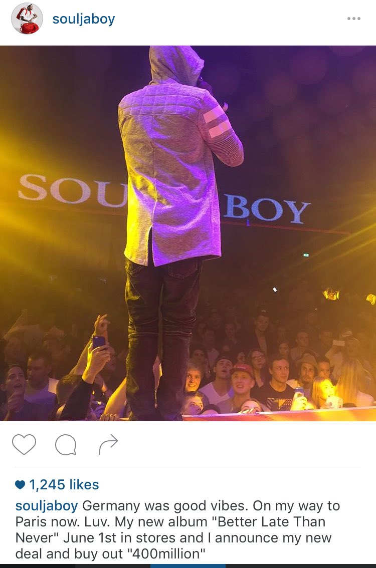June 1st @souljaboy Album In Stores And He Announces $400Million Deal! #SouljaBoy   #TheMogulMinute https://t.co/lpO4DMbMa3