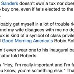 "the best thing about the ""Bernie didnt wear a tux and has no class"" tweets is knowing why he doesnt wear one https://t.co/fJej8959Uu"