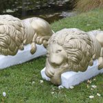 """Pair of 14"""" long cast stone lions. In auction 10th May. #wga #auction #worthing #shoreham #brighton #hove #statues https://t.co/31lyIG1Zf8"""