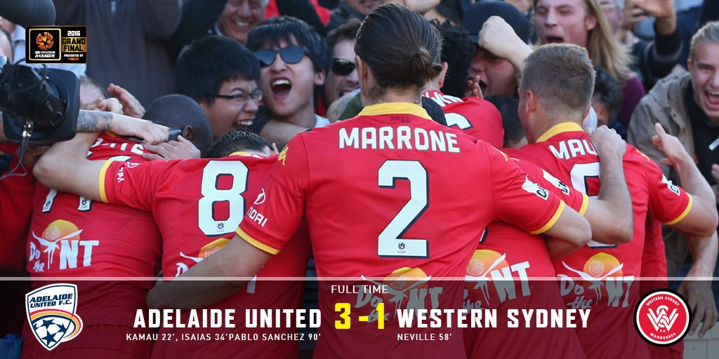 FT | #AUFC 3-1 Western Sydney. We've done it. We are @ALeague Champions. Come On You Reds! #ADLvWSW #ALeagueGF https://t.co/bJI9p3g48Z