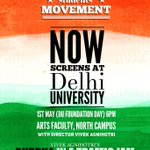 In Delhi. Looking forward to mega screening this eve at Delhi Univ. Dedicating it to @SaurabhJNU and their cause https://t.co/48uG9m8YTd