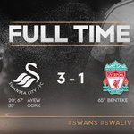 FT: #Swans 3-1 @LFC - it's all over here as a brace from Ayew and a goal from Cork earns the #Swans three points. https://t.co/HZ9mErlyUC