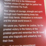 Swansea Citys full page tribute to the Hillsborough families in todays programme. #LFC https://t.co/fS6NrkW5I8