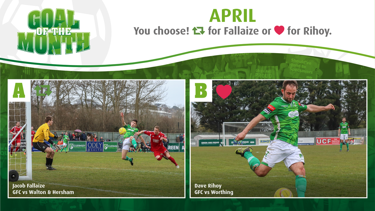 GOAL OF THE MONTH: April - Retweet: Jacob Fallaize or Like: Dave Rihoy. Vote now! https://t.co/yH07fxv8QT https://t.co/VzMTasXlNf