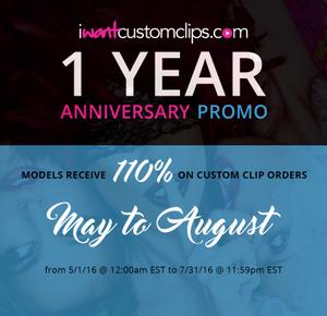 To celebrate our 1 year Anniversary of iWantCustomClips we are giving 110% on all Custom Clip orders