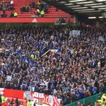 Leicester applauded off field by MUFC fans. Leicester fans singing Were gonna win the league loudly. https://t.co/hMLg4w6tMm